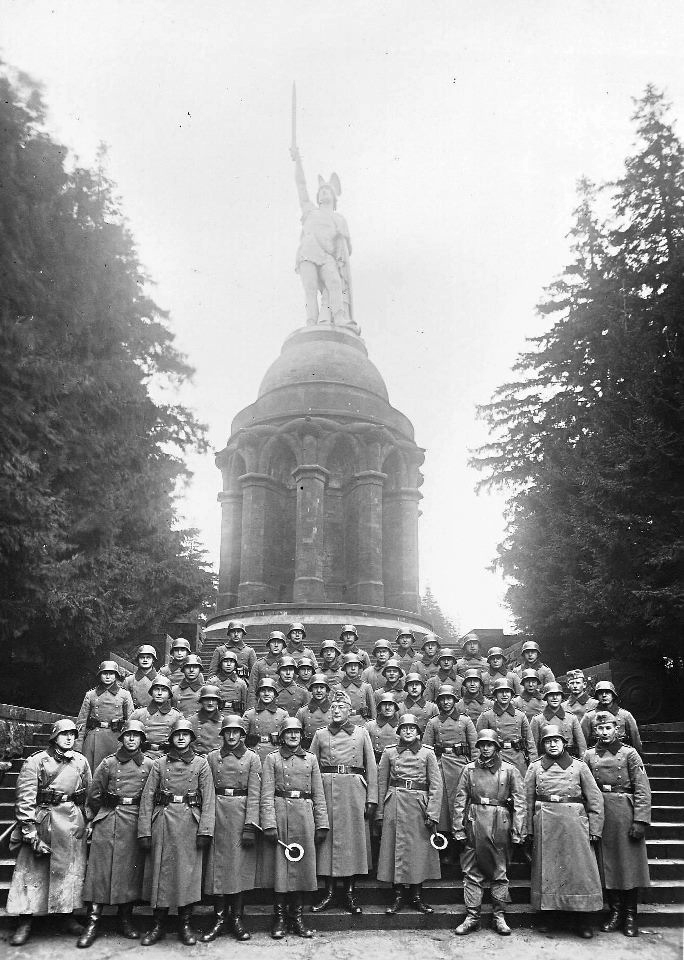 break-from-a-wehrmacht-unit-for-a-car-march-exercise-at-hermannsdenkmal-hermann-monument-1939-author-josef-gierse