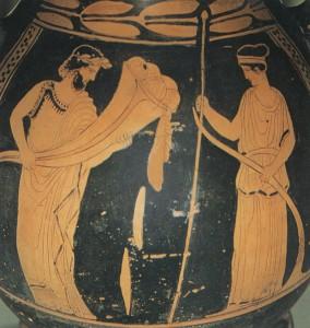 Il dio dell'Ade che sparge semi nei canpi che sono stati seminati da Demetra (Vaso con figure rosse 430-420 a.C., Atene, Museo Archeologico). [cliccare per ingrandire]