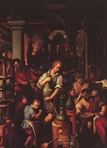 Il laboratorio dell'alchimista, di Giovanni Stradano (1570 – Studiolo di Francesco I, Palazzo Vecchio, Firenze: l'uomo a lavoro in basso a destra è Francesco I de' Medici).