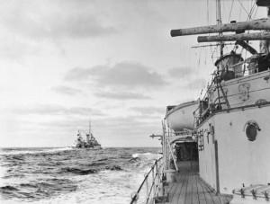 Incrociatori Achille ed Aiax all'inseguimento della Graf Spee