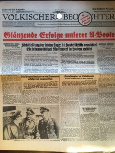 Volkisher Beobachter-2 ottobre 1940. Il giornale riporta in prima-pagina i conseguimenti degli U Boot.